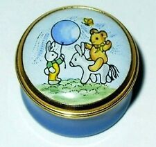 CRUMMLES ENAMEL BOX - TEDDY BEAR & BUNNY & BLUE BALLOON & PONY - BABY BOY - TOYS