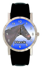 Hack Pony Horse Mens Womens Genuine Leather Quartz Movement Wrist Watch SA1334