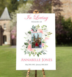 Personalised Funeral Welcome Poster, Memorial, Remembrance and Celebration