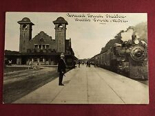 Grand Trunk Railroad Train Station 1910 Battle Creek Michigan Photo Postcard