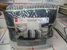 MAINSTAYS COMPLETE BEDDING SET STRIPE FULL SIZE 8 PIECES NEW FAST / FREE SHIP