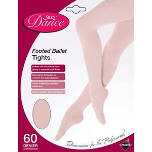 Children's Silky Full Foot Ballet Tights Footed Dance Tights Ages 1-13 - in Pink