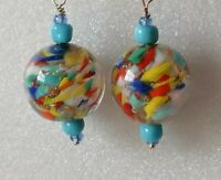 Art Deco Venetian Multicoloured Sommerso Gold 925 Earrings Match 1930s Necklace