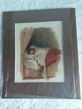 CLEARANCE ANTIQUE LITHOGRAPH PRINT GIRL IN BED WITH A DOLL PLUS SOME CREATURE.