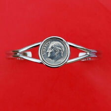 Coin Silver Plated Cuff Bracelet Us 2004 Roosevelt Dime 10 Cent