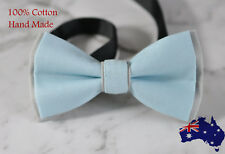 Men Women Baby Blue Grey 100% Cotton Hand Made Bowtie Bow Tie Wedding Ball Party