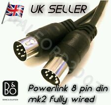 POWERLINK 8 pin DIN mk2 FULLY WIRED Speaker Cable 4 Bang & Olufsen B&O BeoLab 2m