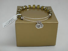 Alex and Ani Leather Trailblazer Ew8 Fern Beaded Wire Bracelet