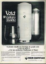 E- Publicité Advertising 1965 Le Chauffe eau Electrique Rheem-Chaffoteaux