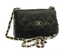 Made in Italy black GENUINE LEATHER  Handbag Quilted Shoulderbag Cross Body NEW