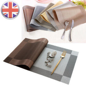 4PCS PVC Place Mats Coasters Table Runner Dining Placemats Non-Slip Washable UK