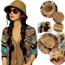 Lady Panama Colorful Women Striped Foldable Straw Hat Beach Summer Sun