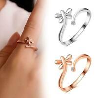 Mode Frauen Libellen Öffnungsring Kristall Schmuck Geschenk Ring Einstellba F2Q7