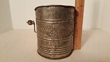 "Antique Metal Tin Flour Sifter ""Our Special XXX Heaviest Sifter Made"" Farm Decor"
