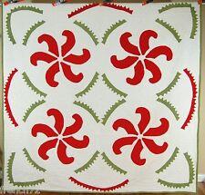 DAZZLING Vintage 1860's Red & Green Applique Princess Feather Antique Quilt!