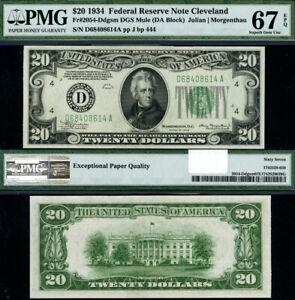 FR. 2054 D $20 1934 Federal Reserve Mule Cleveland D-A Block Superb PMG CU67 EPQ