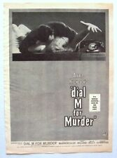 ALFRED HITCHCOCK 1954 Vintage Print Ad DIAL M FOR MURDER