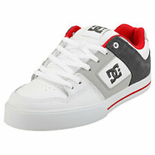 DC Shoes Pure Mens White Red Grey Leather & Synthetic Skate Trainers