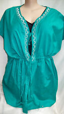 Autograph Emerald + silver embroidery + beads Swimsuit cover up top jacket 24