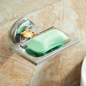 Stainless Steel Suction Cup Drain Soap Dish Holder Bathroom Shower Storage Box