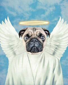 Angel Pet Portrait, Custom Dog Portrait, Angel Cat Poster, Animals Poster