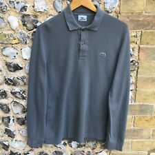 LACOSTE Polo Shirt Mens XS (Size 3) Grey Long Sleeve Casual T-Shirt Tee