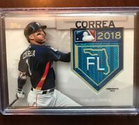 Carlos Correa Topps 2018 MLB Training Logo Patch Card Blue Astros Nice!