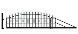 Schiebetor Gartentor Metalltor 400 cm Lichtmaß 149 cm hoch freitragend