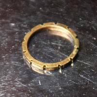 Brass Ring Solid Hand Carved Gold band Size 5.75 Unisex Golden Promise Rings