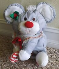 VINTAGE 1988 FISHER PRICE PUFFALUMPS GRAY PLUSH CHRISTMAS MOUSE ~VERY NICE