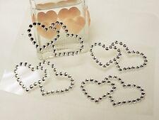4 x Double Heart - Adhesive Stick on Rhinestone Diamante Gems Wedding