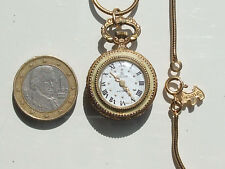 BELLE MONTRE PENDENTIF MECANIQUE ANCIENNE + GRANDE CHAÎNE AGATHA en PL or 61cm