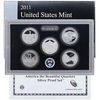 2011 S Proof Parks Quarter Set ATB 90% Silver Original Box & COA 5 Coins US Mint