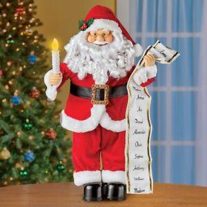 Musical Animated Santa With Naughty & Nice List Christmas Figurine Decoration