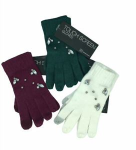 3 Pairs Winter Gloves INC Gemstone Tech Touchscreen Ivory, Green, Burgundy $105