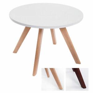 Tavolino Design Eirik Tondo Ripiano Bianco Opaco Tavolino Salotto Ø 60cm H40 cm