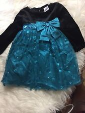 Toddler Christmas Dress. Green/black. Sequins 18M. NWOT
