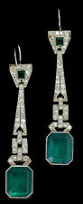 12 ct Dangle Earring Solid 925 Sterling Silver Green Emerald White Long Jewelry