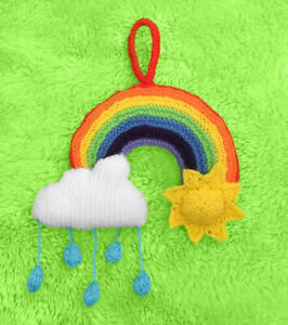KNITTING PATTERN - Rainbow with Sun Hanging Decoration - 32cms long x 23cms tall