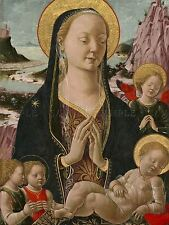 FERRARESE 15TH CENTURY MADONNA CHILD ANGELS OLD ART PAINTING POSTER BB5323A