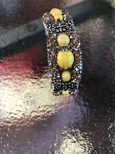 """Bohemian"" Yellow Faux Gems On A Silver And Black Bracelet"