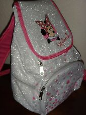 DISNEY MINNIE MOUSE GIRL'S SMALL PETITE SHINY FASHIONABLE BACKPACK PINK SILVER