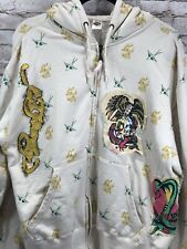 ED HARDY mens scull & cobra snake patch graphic sweatshirt hoodie sz M