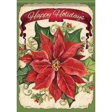 "New listing Happy Holidays Poinsettia 13"" X 18"" Garden Flag Flg46079 Nicole Decorative"