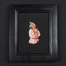 Tin bas-relief, Native American waist high, in a frame.