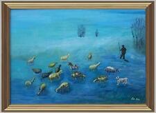 ARTE NAIF gregge pecore inverno collina olio tavola ENRICO COPETTA COEN 1925-89