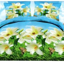3 Pcs KING 3D Bedsheet White Flower Theme Fitted Sheet Cover Linen Collection