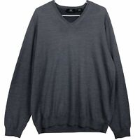 Calvin Klein Mens V Neck Sweater Size XL Gray Merino Wool Pullover Long Sleeve