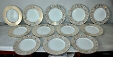 WEDGWOOD 12 Dinner Plates GOLD FLORENTINE Dragons GRIFFINS Excellent! W4219