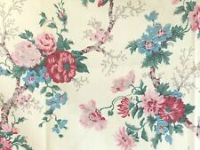 Vintage French Floral Fabric 1900's Roses Flowers Red Pink Blue Vines Foliage